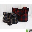 [ D ] Woolen Check Bucket Eco Bag